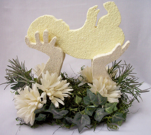 Baby in Hands Styrofoam cutouts with silks Centerpiece