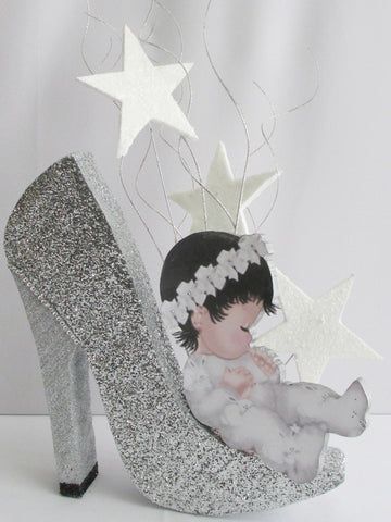Baby on High Heel Shoe styrofoam  Centerpiece