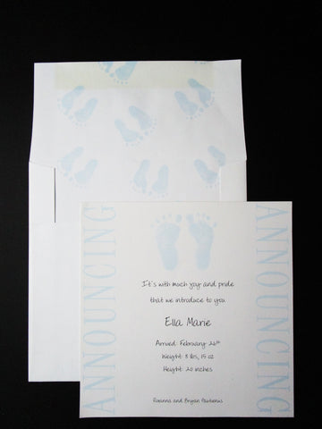 Blue Baby Feet Announcement