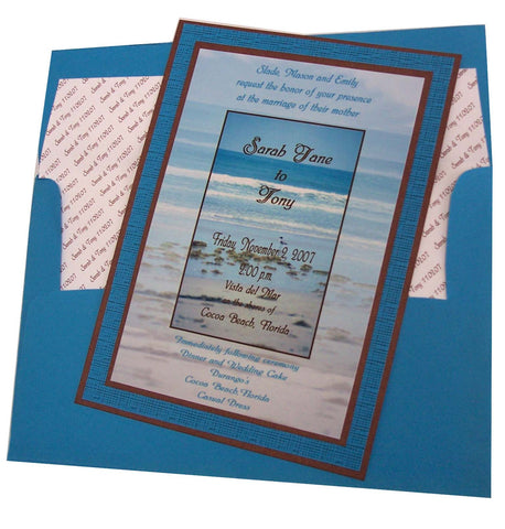 Beach themed wedding invite - Designs by Ginny