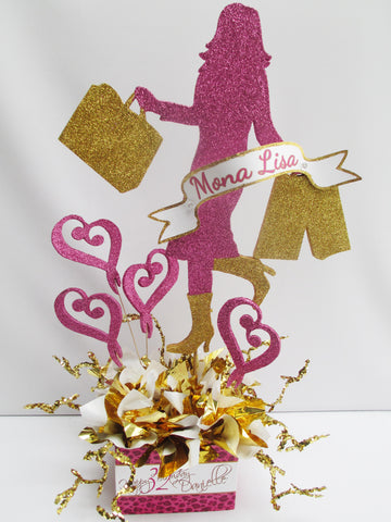 Shopping Girl Centerpiece with Hearts