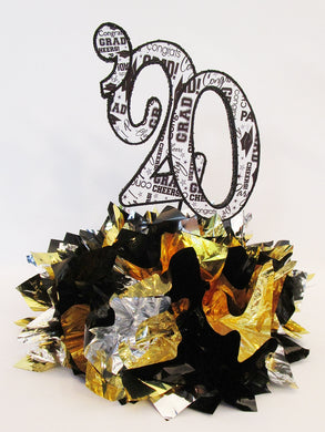 Black, silver, gold graduation centerpiece - Designs by Ginny