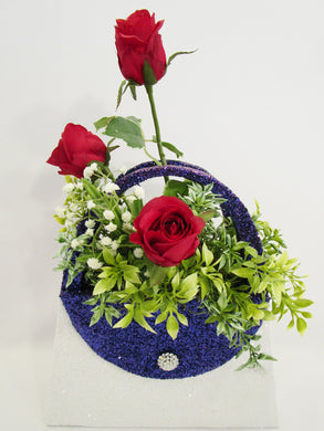 Red,white & blue floral purse centerpiece - Designs by Ginny