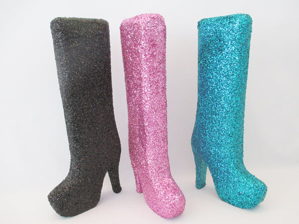 high heel styrofoam boot for centerpieces - Designs by Ginny