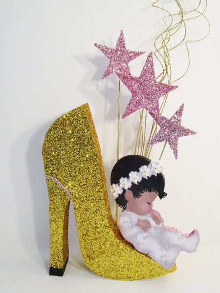 Baby on high heel shoe centerpiece - Designs by Ginny