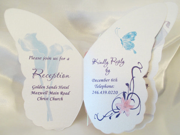 Butterfly Cutout Wedding Invitation/calla lily's