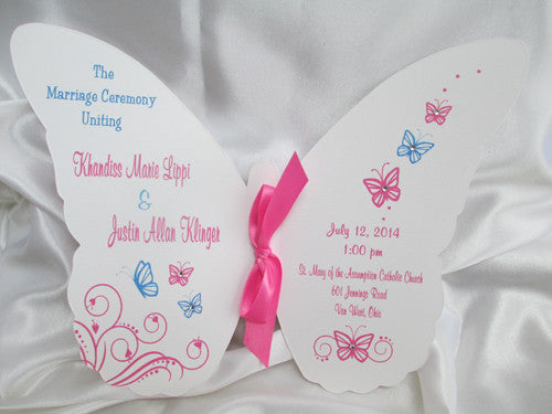 Pink & Blue Butterfly Wedding Program