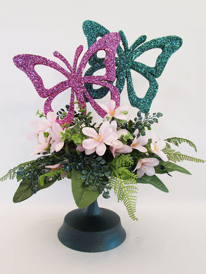 Butterfly silk floral centerpiece - Designs by Ginny