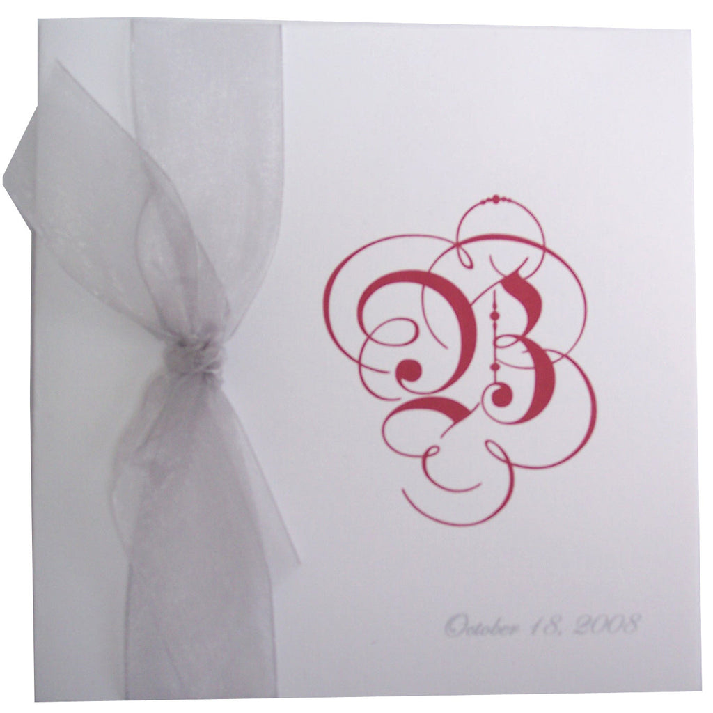 Square Wedding Program with bow & Initial