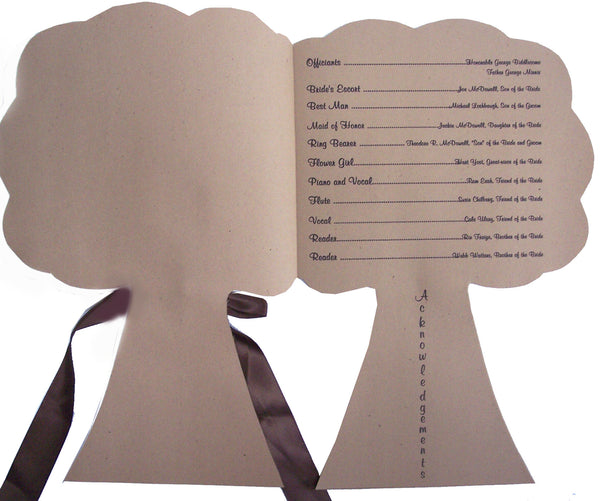 Tree Shaped Wedding Program