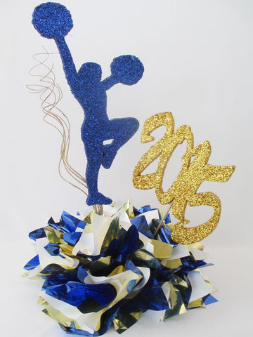 Cheerleader Centerpiece, Metallic Tissue Base, Year Cutout - Designs by Ginny