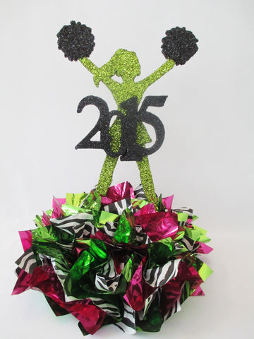 Cheerleader (hands in air) sports or graduation centerpiece