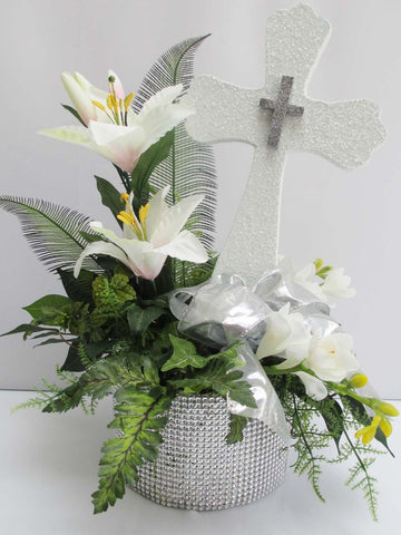Cross, Florals in Rhinestone Base
