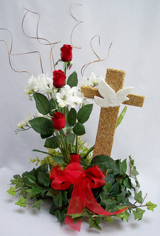 Cross with dove & silk flowers centerpiece