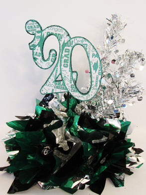 Emerald, silver & black graduation centerpiece - Designs by Ginny