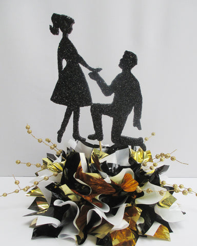 Guy Proposing Cutout Engagement Centerpiece