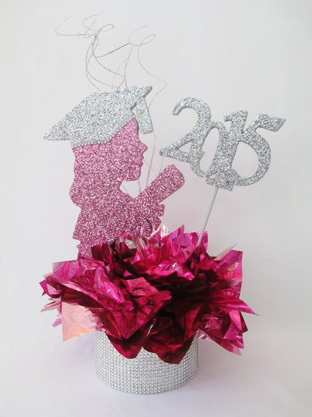 Grad girl head silhouette centerpiece - Designs by Ginny