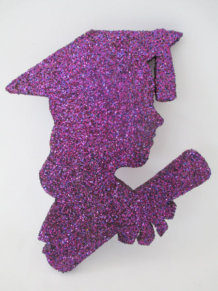 Grad girl head silhouette cutout for centerpiece - Designs by ginny
