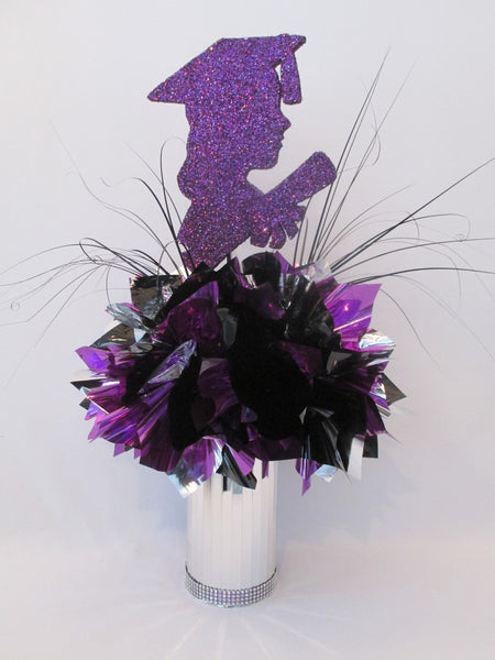 Grad girl silhouette purple & silver centerpiece - Designs by Ginny