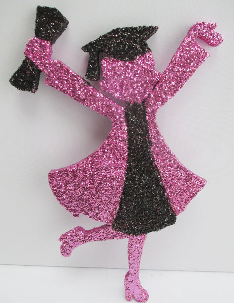 Grad girl cutout pink & black - Designs by Ginny