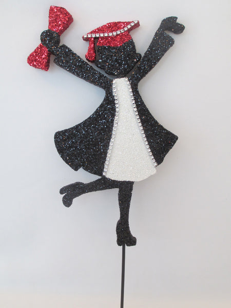 Grad girl cutout with black,red & white accents - Designs by Ginny