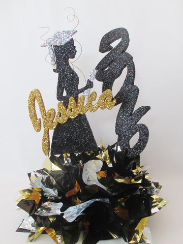 Grad Girl Silhouette, Name, Year, Metallic Base Graduation Centerpiece