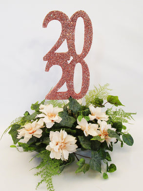 Rose gold graduation centerpiece
