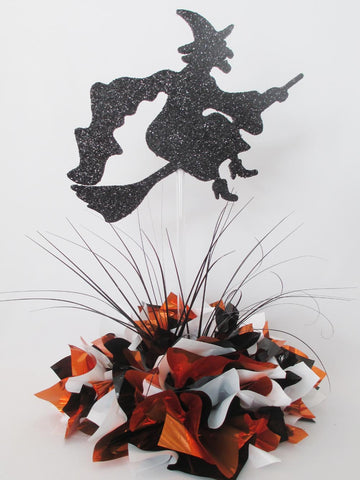 Witch on a broom stick Halloween centerpiece - Designs by Ginny