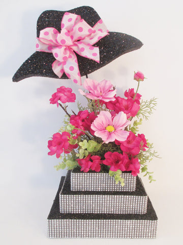 Styrofoam Hat Centerpiece with 3 tier rhinestone base & silk flowers