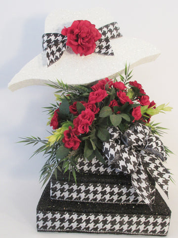 Hat & Silk flowers Centerpiece, Great for Kentucky Derby