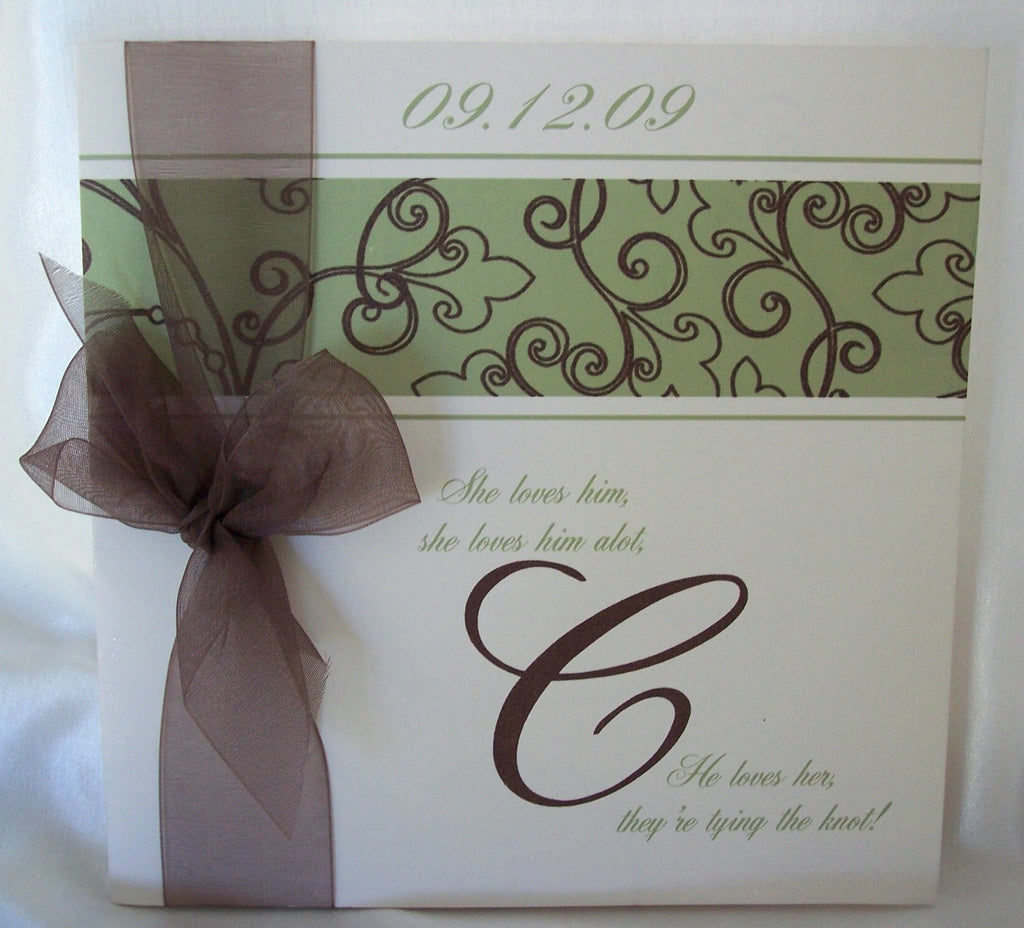 Square Wedding program with Bow