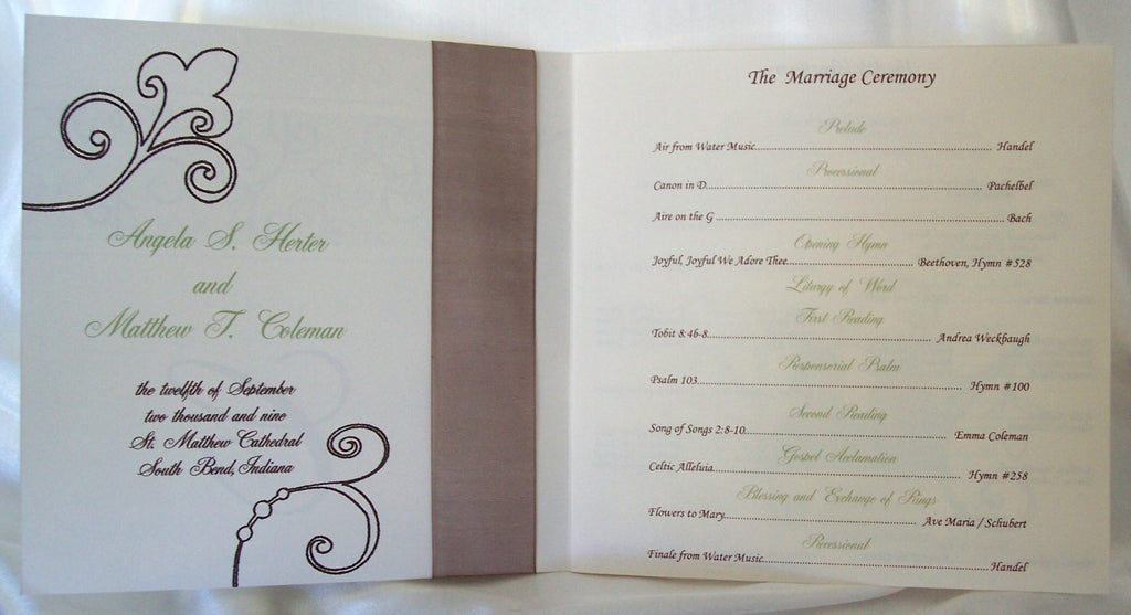 Square Wedding Program With Bow Designs By Ginny