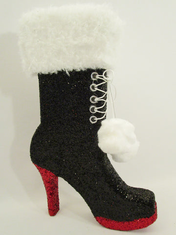 High Heel Boot with faux fur cutout - Designs by Ginny