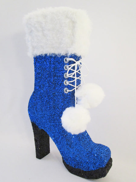 High Heel Boot Styrofoam with faux fur & pom poms - Designs by Ginny