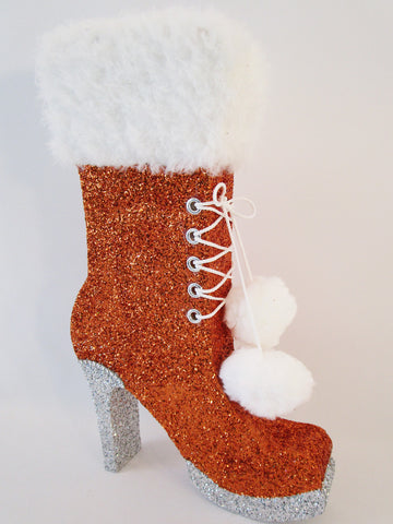High Heel Boot with Fake Fur Top and Pom Poms