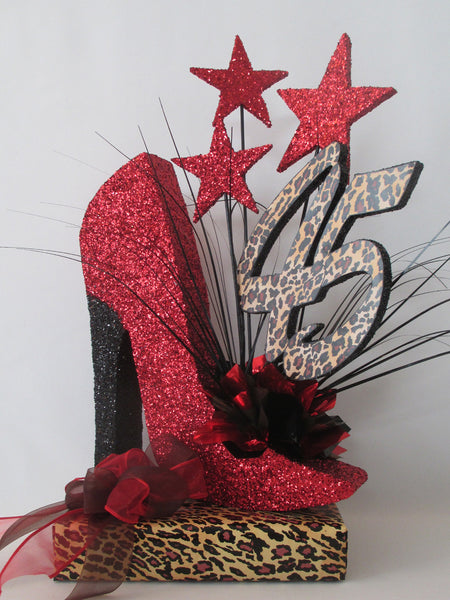 45th high heel shoe centerpiece on leopard base - Designs by Ginny