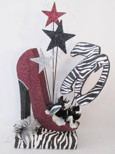 70th burgundy high heel shoe with zebra print centerpiece - Designs by Ginny