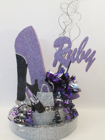 High Heel Shoe with Rhinestone Base, Lipstick, Dress and Purse Cutout