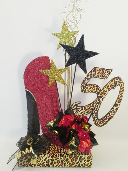 50th High heel shoe birthday centerpiece - Designs by Ginny