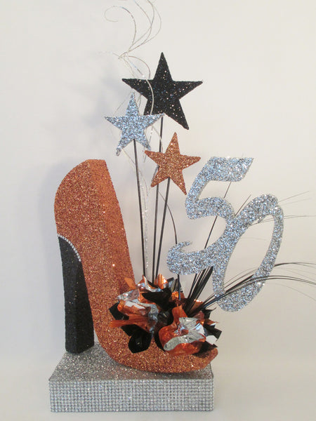 50th orange high heel shoe on glitter base centerpiece - Designs by Ginny