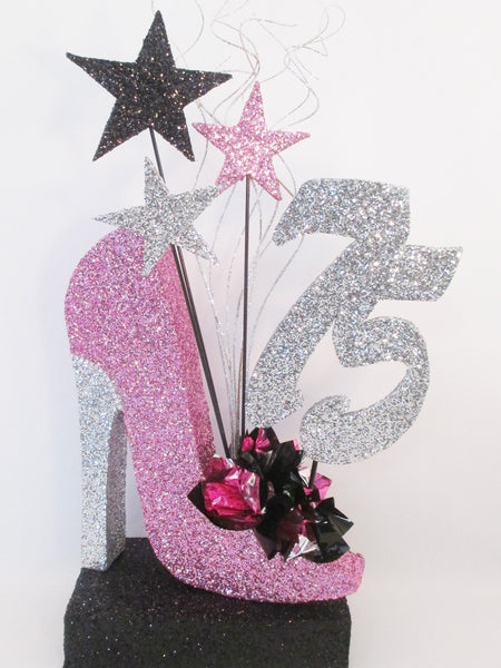 75 the high heel shoe birthday centerpiece - Designs by Ginny