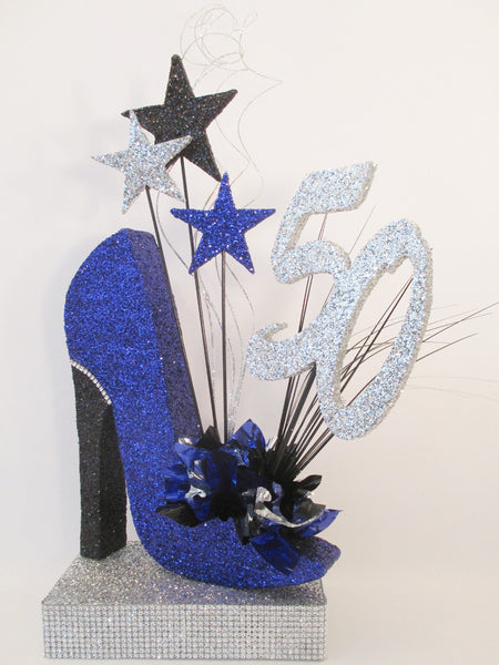 50th royal blue high heel shoe birthday centerpiece- Designs by Ginny