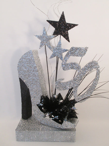 50th high heel silver shoe birthday centerpiece - Designs by Ginny
