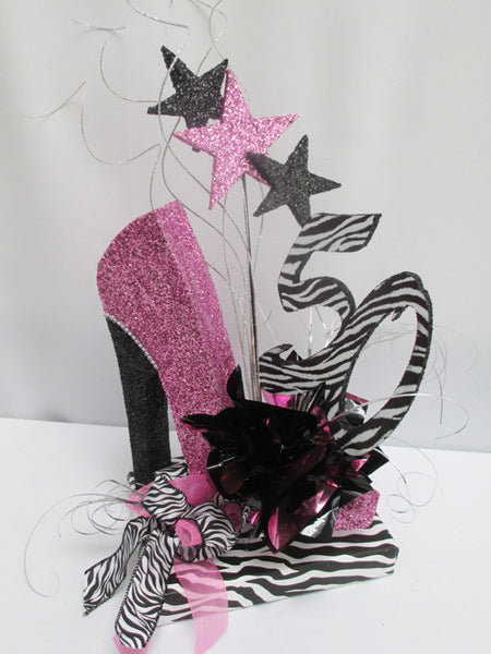 High heel shoe birthday centerpiece, on zebra base, 50 & stars