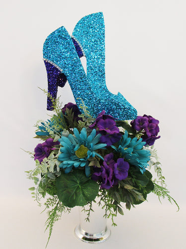 Purple & Turquoise Silk Floral High Heel centerpiece - Designs by Ginny