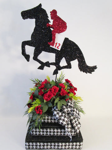 Horse & jockey centerpiece on 3 tier base - Designs by Ginny