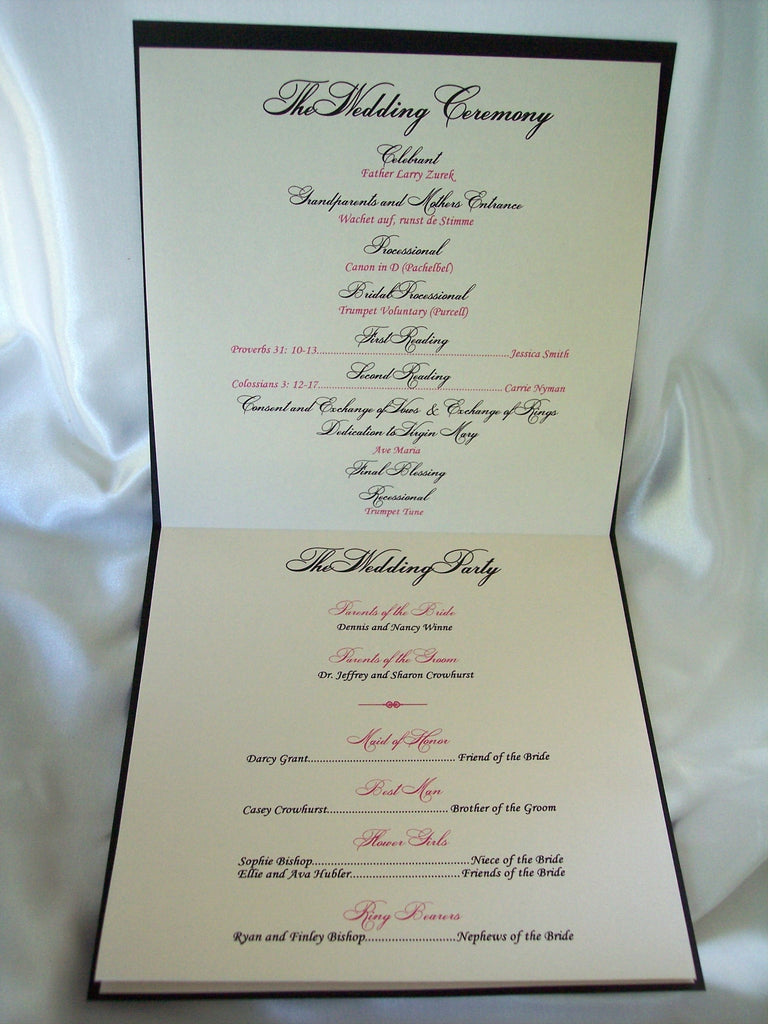 Monogram Square Wedding Program Designs By Ginny