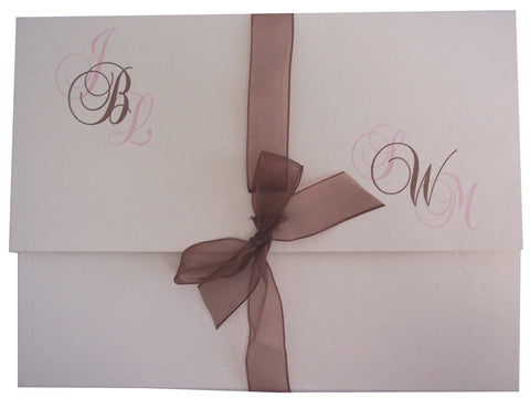 Fold-over Invite, Monogram & Bow