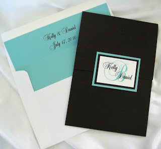 Black & Aqua custom pocketfold with monogram