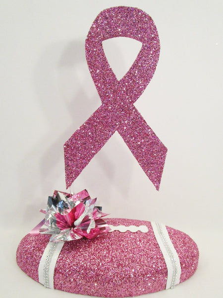 Pink Faux Football & Cancer Ribbon centerpiece- Designs by Ginny